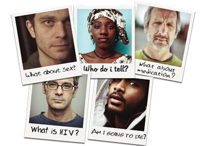 Pictures of people asking questions after being newly diagnosed with HIV
