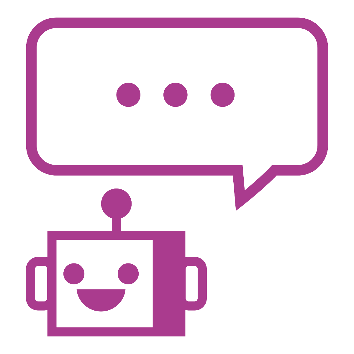 Quirky robot head with chat bubble that has three dots in it